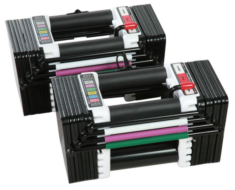 A new pair of PowerBlock Elite adjustable dumbbells